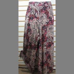 Artsy paisley slinky casual pants Nice stretch EUC